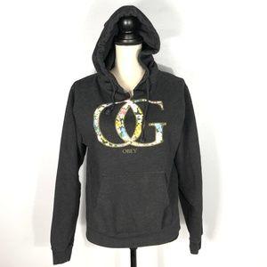 OBEY OG Floral Gray Hoodie Sweatshirt   Size: M